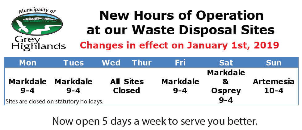 New Hours of Operation at our Waste Disposal Sites
